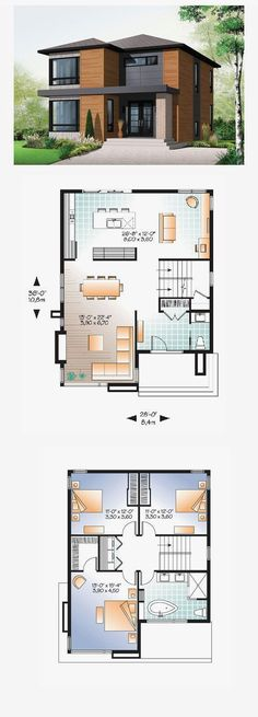 Contemporary Modern Style House Plan with 1852 Sq Ft 3 Bed 2 Bath 2019 Modern House Plan 76317 Sims House Plans, Small House Plans, Wooden House Plans, Dream House Plans, Casas The Sims 4, Modern Floor Plans, Modern Home Plans, Home Design Plans, Plan Design
