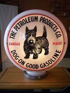 Original Antique Scotty Dog Gasoline Pump Globe