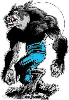 Wolfman Sticker Decal Art Ben Von Strawn BV16 | eBay