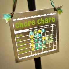 Chore Chart - Printed on magnet paper and cut out with silhouette!