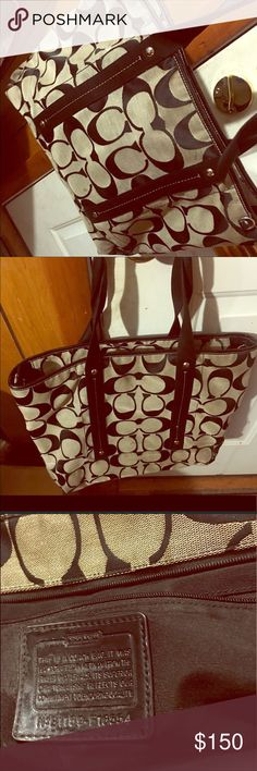 Coach Tote Bag Tote coach bag. Good condition.. no tear or nothing. Used it for my son diaper bag for years..still in good shape just need cleaning. canvas leather on half of stripe. Coach Bags Totes