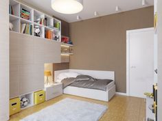 This kids room benefits from oodles of storage space, keeping all of the clutter at bay.