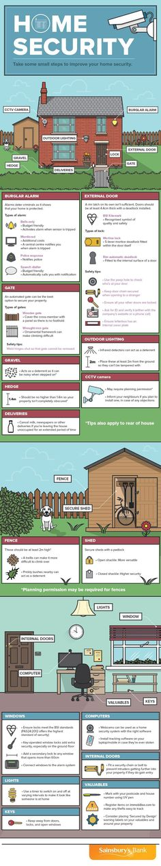 Take Some Small Steps to Improve Your Home Security - Infographic Home Security Tips, Safety And Security, Home Security Systems, Security Guard, Personal Security, Dog Safety, Security Solutions, Bushcraft, Home Protection