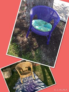 Free wicker chair= purple outdoor Upcycle. #dumpster-diving