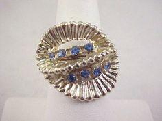 Vtg 1950s Retro Blue Rhinestone Very Pale Gold Tone Ladies Adj Ring Size 6 #NotMarked