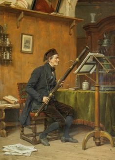 Gérard Jozef Portielje (Belgian,1856-1929)  — The Bassoon Player, 1886 (551×768)
