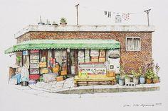 Mini shop(구멍가게) by mikyung lee(이미경) desenho arquitetônico, aquarela, cores, Building Drawing, Building Sketch, Building Art, Building Painting, Lee And Me, Background Drawing, House Sketch, Korean Art, Urban Sketchers
