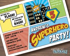 DIY Superhero Birthday Invitation, Comic Book Super Hero Party, printable digital file on Etsy, $12.00