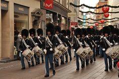 Danish Royal Guard marching band in Strøget, Copenhagen