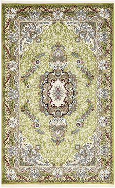 Green 5' x 8' Tabriz Design Rug | Area Rugs | iRugs UK