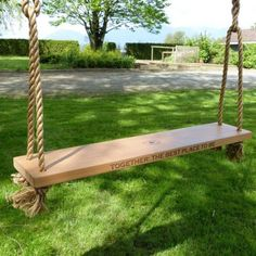 Swing into Spring! wide 'Eagle' Double Swing holds two adults (via Rosedale Swing Company) Single Swing, Double Swing, Indoor Swing, Porch Swing, Swings For Sale, Wood Swing, Outdoor Living, Outdoor Decor, Raised Beds
