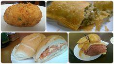 Delícias do Mercadão de São Paulo: bolinho de bacalhau, pastel de camarão, pão com mortadela. #brazilianfood #food #bread