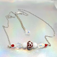 Lampwork necklace chain bar crystals red white clear by Pat2 by RememberThis3 on Etsy