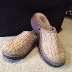 J. Crew cable knit clogs J. Crew cable knit clogs with wooden sole. J. Crew Shoes