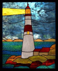 Colorful lighthouse scene.