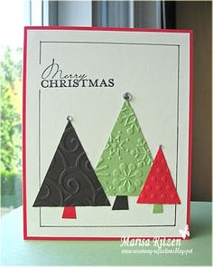 embossed Christmas trees