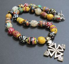 Antique African Trade Beads Necklace Tuareg Silver by GEMILAJewels, $390.00