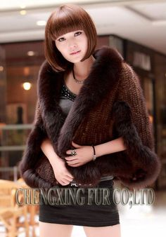 Genuine Mink Fur Shawl With Fox Fur Trim