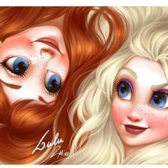 Disney Hair: Anna and Elsa by Thiago Lehmann and Luiza McAllister Disney Fan Art, Disney Word, Film Disney, Disney Artwork, Disney Movies, Disney Pixar, Disney Characters, Frozen Disney, Disney Princess Fashion