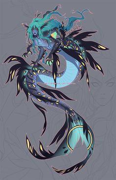 Mermaid Artwork, Mermaid Drawings, Art Drawings, Mermaid Paintings, Mythical Creatures Art, Magical Creatures, Fantasy Creatures, Fantasy Character Design, Character Art