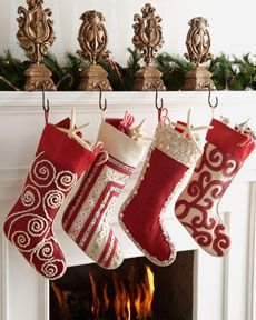 #Christmas Stockings - I may need to have new stockings made this year with coordinating fabrics!   LOVE!!