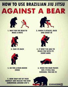 How to survive a bear attack with Brazilian Jiu Jitsu. Survival Life Hacks, Survival Tips, Survival Skills, Wilderness Survival, Jiu Jitsu Frases, Jiu Jitsu Meme, Stupid Funny Memes, Hilarious, 9gag Memes