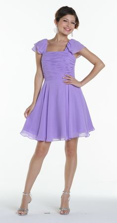 Short Sleeve Lavender Bridesmaid Dress Knee Length Square Neck Lavender Bridesmaid Dresses, Knee Length Bridesmaid Dresses, Lilac Dress, Formal Dresses For Women, Pageant Dresses, Mother Of The Bride, Fashion Dresses, Short Sleeve Dresses, Pretty
