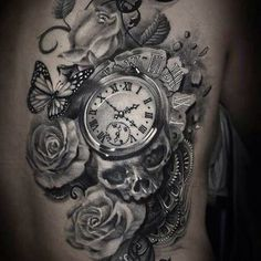 Clock with skull and roses