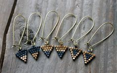 Tiny Triangle Beaded Black and Gold Earrings by AYAJewelryStudio