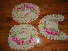 jogo tapete banheiro 3 peças feito em croche
