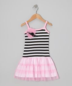 Pink & Black Stripe Tulle Drop-Waist Dress - Toddler & Girls | Daily deals for moms, babies and kids