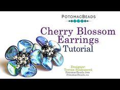 Cherry Blossom Earrings- DIY Jewelry Making Tutorial by PotomacBeads - Perlen Schmuck Jewelry Making Tutorials, Jewelry Making Beads, Beading Tutorials, Jewelry Making Supplies, Beading Patterns, Beaded Earrings, Beaded Jewelry, Hoop Earrings, Bead Jewellery