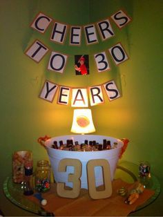 """Homemade """"Cheers to 30 years"""" banner for the drink table at my husband's 30th birthday party! I even put a picture of him in the middle from when he was a kid!"""