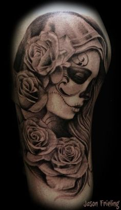 44 Day of the Dead Tattoos Gallery! Day of the Dead Tattoos are originating from a holiday (Dia de los Muertos) that falls at the end of October, overlapping with Halloween, and ends on... #inkdoneright #tattoo #tattoos #inked #art #inkedgirls #tattooed #tattooedgirls