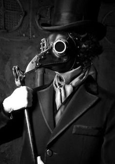 Meet Dr Beulenpest steampunk plague doctor Made of - veg tan leather with cold cast aluminum eyepieces and beak Steel dome rivets and buckles complete the look This mask is Steampunk Gas Mask, Mode Steampunk, Steampunk Fashion, Steampunk Cosplay, Steampunk Bird, Steampunk Clothing, Steampunk Pirate, Steampunk Couture, Steampunk Corset
