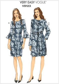 Misses Jacket, Belt and Dress Vogue Sewing Pattern 9123