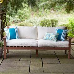 Birch Lane Heritage Rossi Patio Sofa with Cushions Patio Lounge Furniture, Patio Loveseat, Sectional Sofa, Outdoor Furniture, Couches, Outdoor Sofas, Furniture Redo, Garden Furniture, Painted Furniture