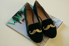 Love these. Have these. Zara Mustache Smoker Slippers via maricuchíbricas