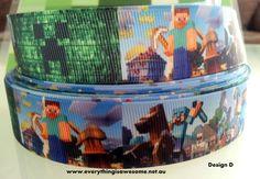 "New 1 metre Minecraft Ribbon 1"" Grosgrain printed Creeper - http://www.austree.com.au/ads/clothing-jewellery/accessories-clothing-jewellery-2/1-metre-minecraft-ribbon-1-grosgrain-printed-creeper/26359/"