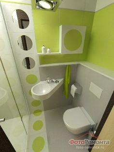 Compact bathroom in green