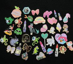 Super Cute pin collection by your girls @girlypopbows. Enamel and Lapel pins by @girlypopbows, Creature Type, Ludlow Luna, tokidoki, Disney, @fauxfoxstudios, Cat Coven, Miss Kika, Sugarcanes, Tokyo Sea, Sanrio, Bear Brains, Sour Attitude Club, @punkypins @thischepooka @tuesdaybasin @darlingdistraction, Laser Kitten, Unicorn Rockstar, Diglotetc, Gundam Cafe, @fatallyfeminine Robot Dance Battle