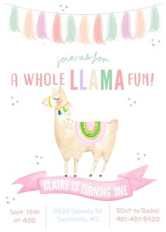 A Whole Llama fun fiesta, alpaca, cactus theme birthday invite. Your little one will not be disappointed with a super cute theme like this. Llama Birthday, Adult Birthday Party, Girl First Birthday, First Birthday Parties, First Birthdays, Birthday Ideas, Cute Themes, Construction Birthday, Birthday Party Invitations