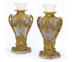 A FINE PAIR OF LOUIS XV STYLE ORMOLU MOUNTED GREY MARBLE VASES, CIRCA 1880