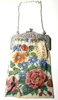 Antique Large German Floral Rose Beaded Purse with Amazing Silver Frame!