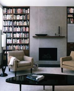 Minimalist Home Inspiration Mirror minimalist home design clutter.Minimalist Home Interior Diy minimalist living room apartment clothing racks.Simple Minimalist Home Grey. Library Fireplace, Fireplace Bookshelves, Fireplace Built Ins, Fireplace Surrounds, Fireplace Design, Minimalist Fireplace, Simple Fireplace, Living Room With Fireplace, Minimalist Decor