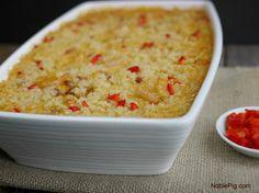 Cheesy Cajun Shrimp and Rice Casserole for Mardi Gras from NoblePig.com