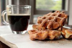 "Waffle ""doughnuts"" + black coffee"