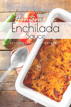 This Homemade Enchilada Sauce from scratch has better flavor than the canned version and is incredibly simple and quick to whip up. Learn how to make, can, and use it with these easy recipes. Recipes With Enchilada Sauce, Homemade Enchilada Sauce, Homemade Enchiladas, Enchilada Soup, Homemade Tortillas, Homemade Cake Mixes, Homemade Scones, Mexican Dishes, Mexican Food Recipes