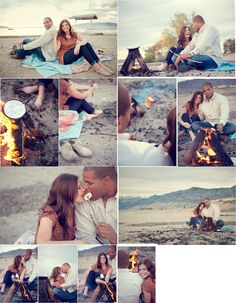 UGH I LOVE THIS! campfire on beach engagement photoshoot