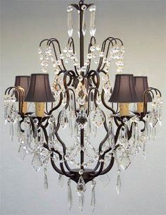 "New! Wrought Iron & Crystal Chandelier With Black Shades! H27"" X W21"" - A7-Blackshades/C/3033/5"